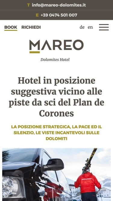 Mobile screen design mareo-dolomites.it
